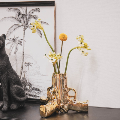Pistool vaas - Goud - 20,5x18x15cm