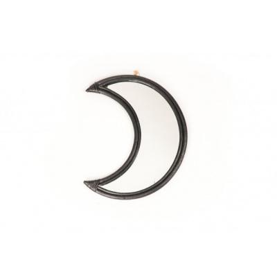 Rattan Moon Mirror Black 43x34cm