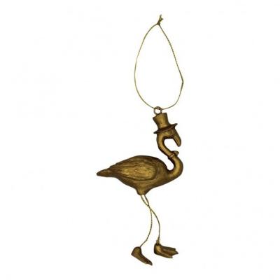 Kersthanger Flamingo-Goud-7x14 cm