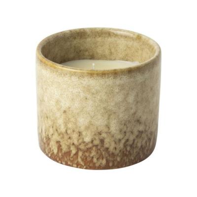 Kaars in keramieke pot ø8.6cm bruin