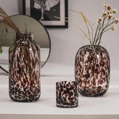 Panter theelicht Helder glas/ Zwart-10x11 cm