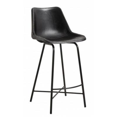 Vega Bar Stuhl, Leder, Bügeleisen, Schwarz
