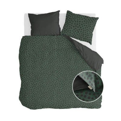 Dekbedovertrek Spots & Dots Donker Groen - 240x220 cm