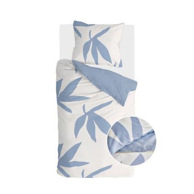 Dekbedovertrek Simple Leaves Off White / Jeans Blauw - 140x220 cm