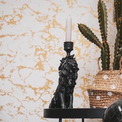 Lions Candlestick-Black-15x27x8 cm