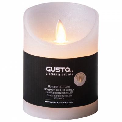 Kerze mit Flamme LED Ø75xh10cm weiß