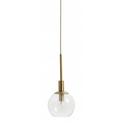 Ronde glazen lamp klein gouden afwerking
