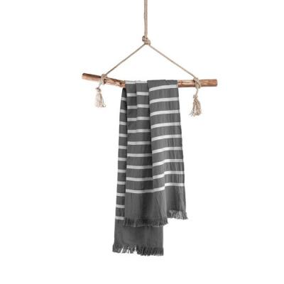 Hamamdoek Fouta Sunny Stripes Antraciet - 100x180 cm