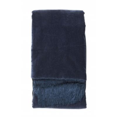 Decke mit Fransen dunkelblauem Samt