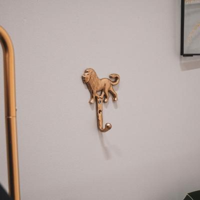 Muurhaak Leeuw Goud - 9,5x3,5x12 cm