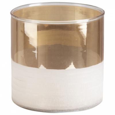 Theelichthouder glas 10x10cm goud - versie 2