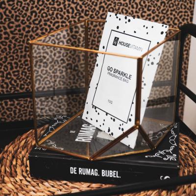 Metalen Kubus en glas-15x15-Goud
