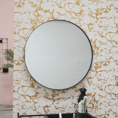 Ronde Metalen Spiegel-Zwart-100cm