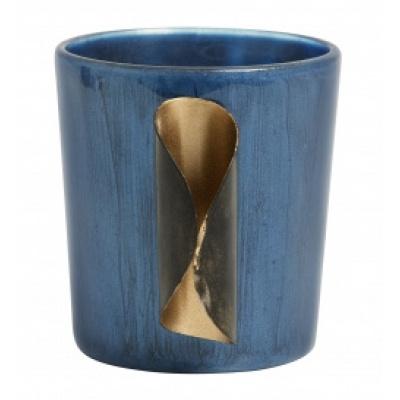 Teestichthalter blaues Glas mit Metall