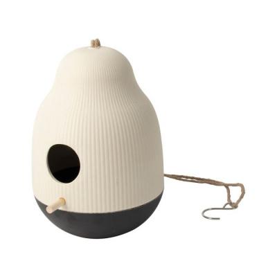 Vogelvoeder huisje ø18x25cm wit/zwart