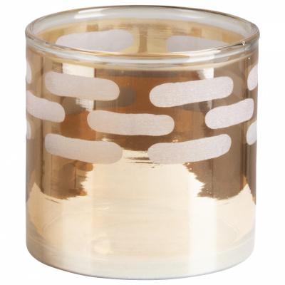 Teelichthalter Glas 10x10cm Gold - Version 1