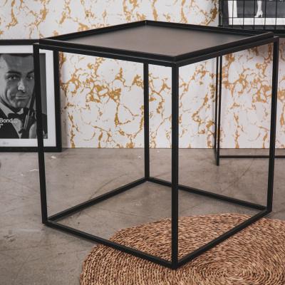 Zwart metalen bijzettaffel-50x50x56cm
