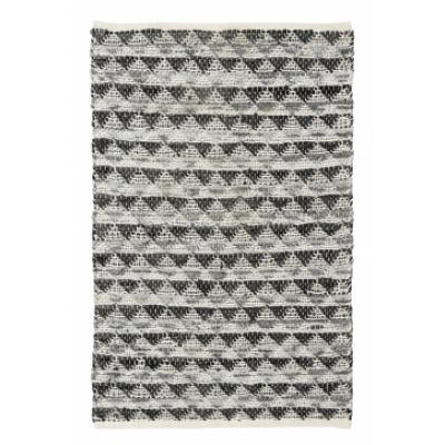 TRIANGLE leder tapijt grijs / zwart