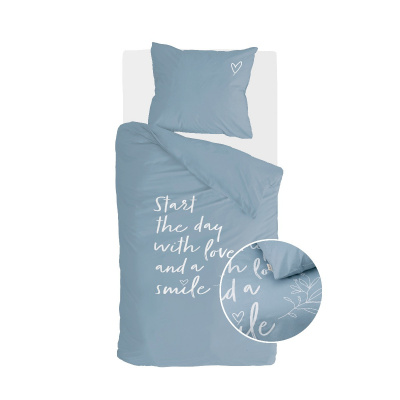 Dekbedovertrek Smile with Love Jeans Blauw - 155x220 cm