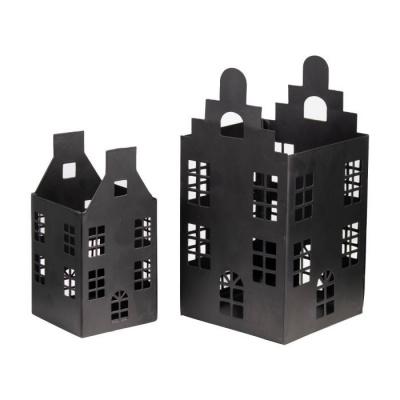 Theelichthouder huisjes zwart - set 2 stuks
