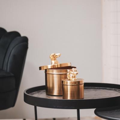 Gouden Potje Teckel -met deksel-Goud 13,5x13,5x16