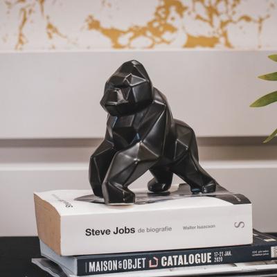 Gorilla beeld geometrisch-Zwart-16x9x15cm