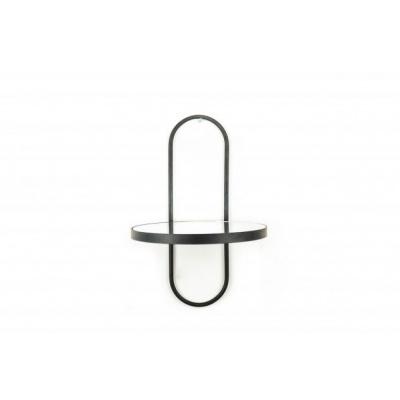 Wandplank met spiegel Zwart- 22x22x32