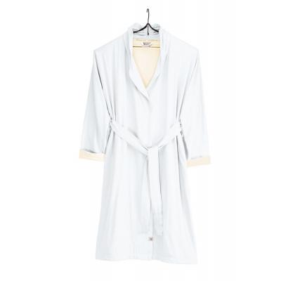 Bademantel weiches Jersey Robe weiß / Kieselgrau - s / m