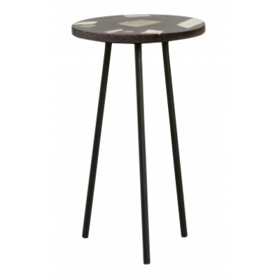 Terrazzo-Beistelltisch, schwarz mit Farben