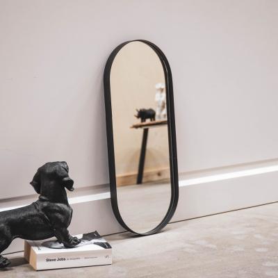 Ovale Spiegel Zwart - 25x3x60cm