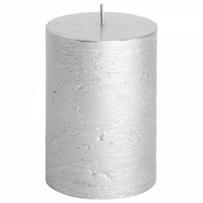 Rustikale Kerze Ø7x10cm Silber