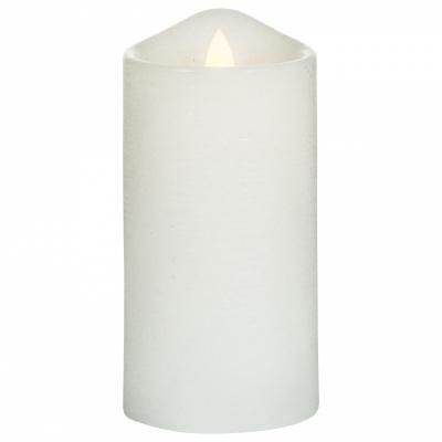 LED-Kerze rustikal Ø75xh15cm weiß