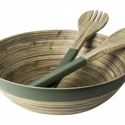Schaal + saladecouvert bamboe groen