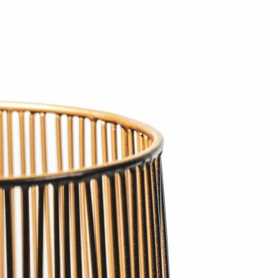 Teelichthalter - Schwarz / Gold - 12x12x13cm