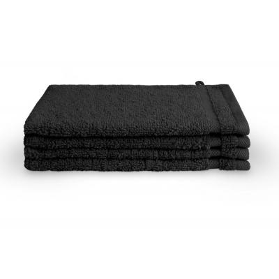 Washand Bath Basics Zwart (set 4 stuks) - 16x21 cm