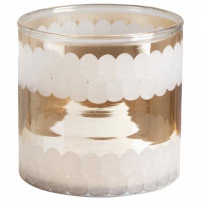 Teelichthalter Glas 10x10cm Gold - Version 3