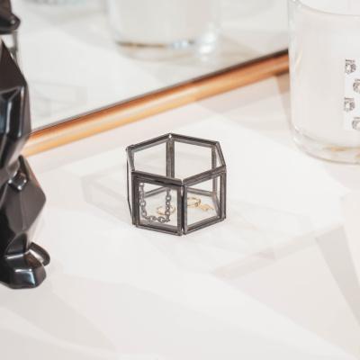 Opbergboxje Zwart Zeshoek 6x5,5x3,5cm
