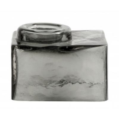 Quadratischer Teestichthalter grau transparent