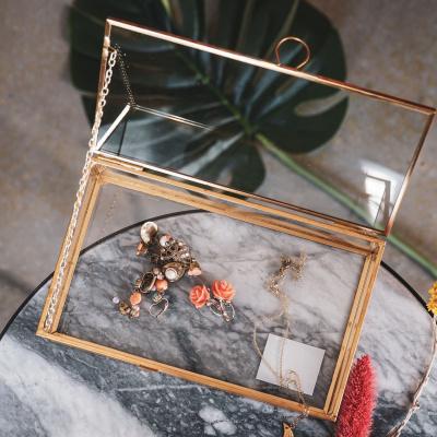 Goldene Schmuckkiste Glas 20x12x6cm