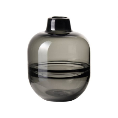 Vaas glas met lijn ø12x19cm grijs