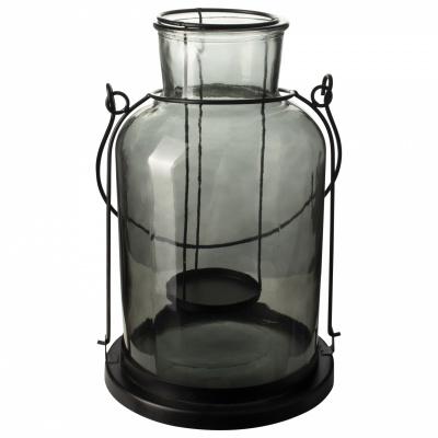 Lantaarn glazen ø17x30cm zwart