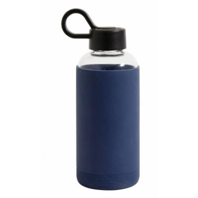 Glazen Fles W. Siliconen Huls, Donkerblauw