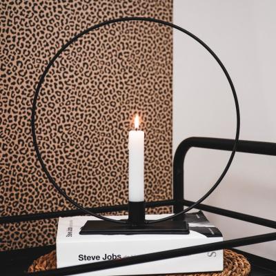 Zwart metalen ronde Kandelaar- 7x18cm