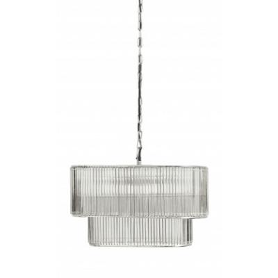 Glamour Hangen. Lamp, Ovaal met Glas, Zilver