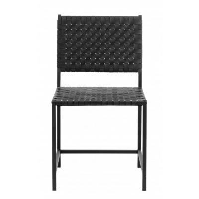 Chair met zwart leer weven metaal