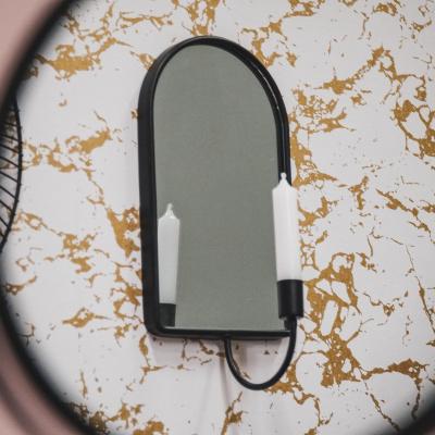 Kerzenhalter mit Spiegel oval-17x12x29 cm-schwarz