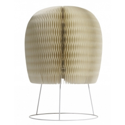Flauschige Tischlampe, aus weißem Papier