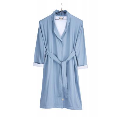 Bademantel weiches Jersey Robe blau / weiß - s / m