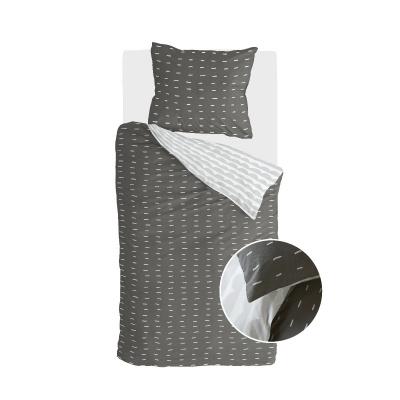 Bettbezug mehr Bindestriche aus schwarz / grau - 155x220 cm