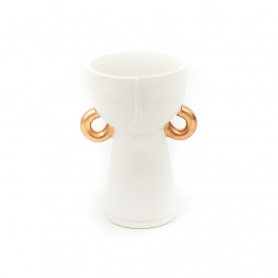 Vase weiß mit Goldohrring-12x11x18cm